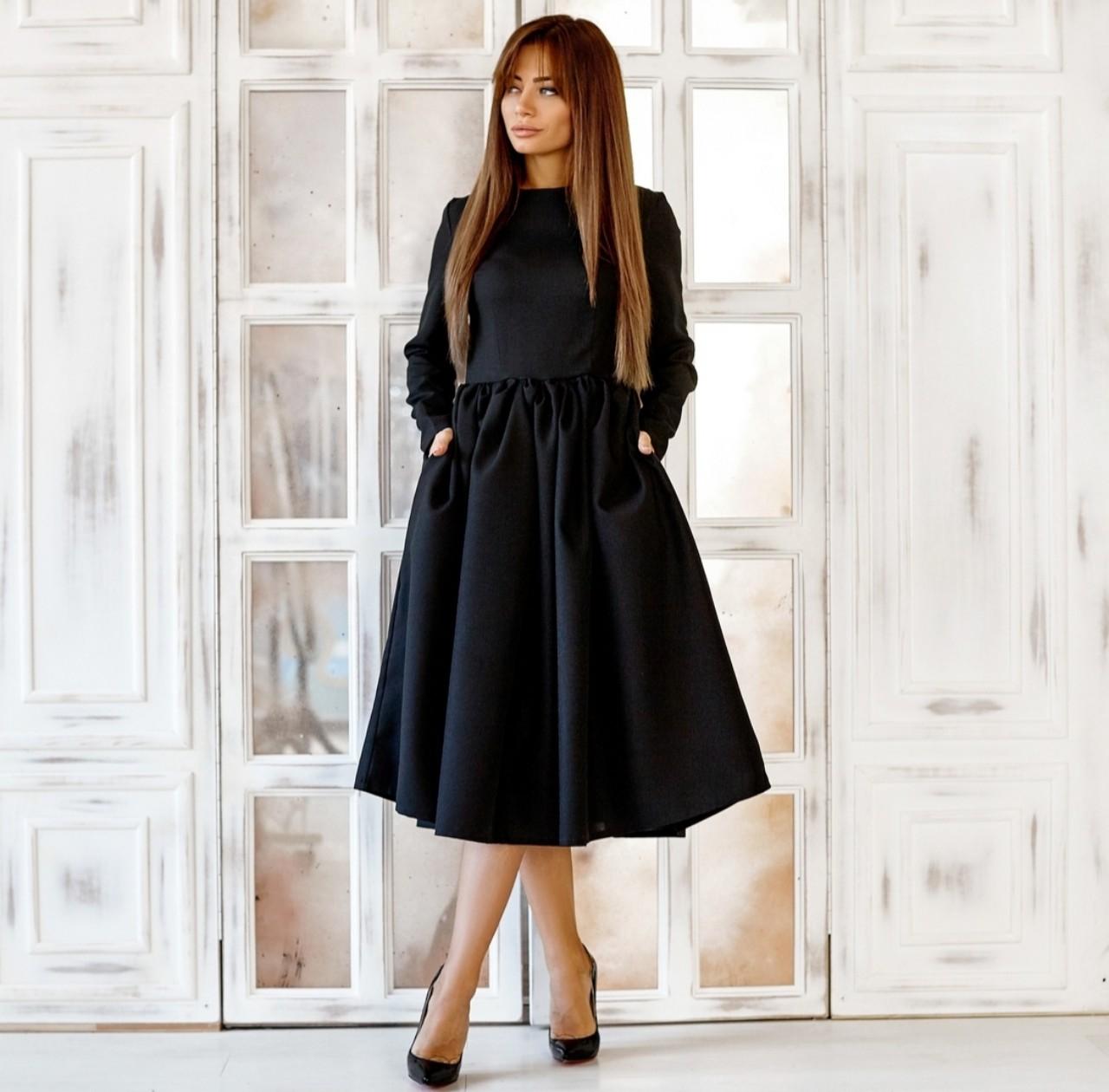 Черное Вечернее Платье Из Габардина
